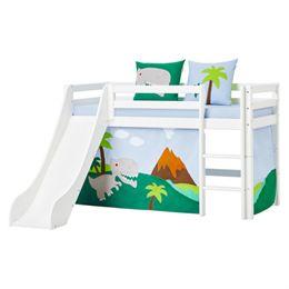 Hoppekids halvhøj seng med rutsjebane - Basic - Hvid med Dinosaur