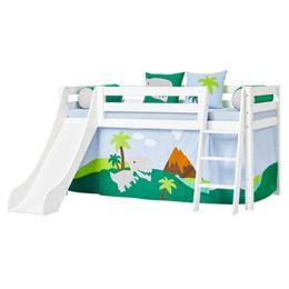Hoppekids halvhøj seng med rutsjebane - Premium - Hvid med Dinosaur
