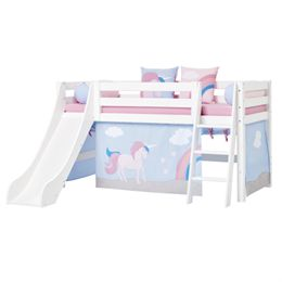 Hoppekids halvhøj seng med rutsjebane - Premium - Hvid med Unicorn