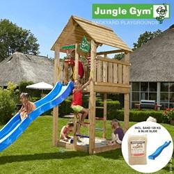 Jungle Gym Cabin legetårn - blå rutsjebane/120 kg sand