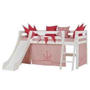 Hoppekids halvhøj børneseng med rutsjebane - Premium - Princess